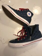Converse Chuck Taylor All Star Hi Tops Talla 4.5 Acolchado Azul Marino Rojo Cordones cremalleras
