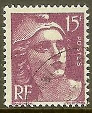 "FRANCE TIMBRE STAMP N° 724 "" MARIANNE DE GANDON 15F LILAS "" OBLITERE TB"