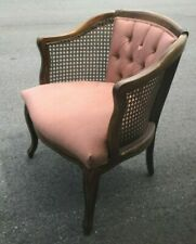 Mid Century mauve Cane Barrel Sam Moore Chair Hollywood Regency french country