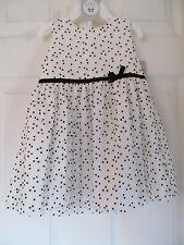 NWT Girls WHITE & BLACK POLKA DOT NYLON TULLE DRESS with BLACK RIBBON size 12mo.