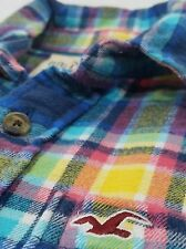 Hollister Flannel Shirt Sz Small Blue Pink Yellow Plaid 100% Cotton Country