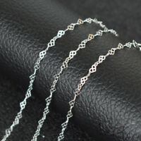 925 Sterling Silver 14 16 18 20 22 24 inch 3mm Heart Link Chain Necklace Ladies
