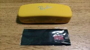 Yellow genuine Ray-Ban glasses hard case with lens cloth