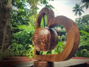 New handmade coconut shell and wooden table lamp gift