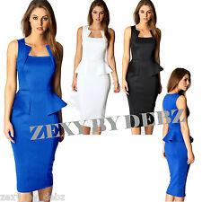 Ladies Womens Dress Sleeveless Square Neck Knee Length Black Blue 8 10 12