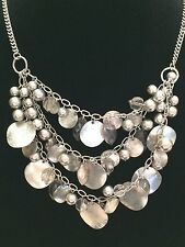 Silver Disc Statement Necklace w/ Gray Translucent Beads & Brushed Silver Discs