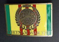 VIETNAM SERVICE VET VETERAN METAL ENAMEL BELT BUCKLE 3.3 X 2.25 INCHES