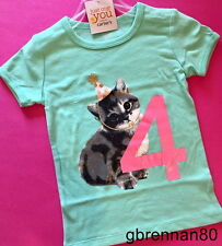 ~NEW~ 4th Birthday KITTEN Baby Girls Shirt 4T SS 4 Years Gift! Carters Party