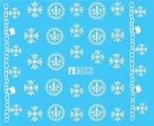 Nail Art Stickers Water Decals Transfers White Mono Design Symbols (B022)