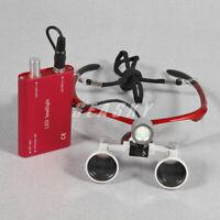Dental 3.5 x 420mm Binokularlupe Loupes Kopflupe Lupenbrille mit Headlight Red