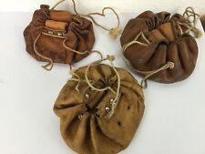 3 stuck kleiner Ledersack Ledertasche von der Schweizer Armee Tabaksbeutel
