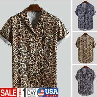 Men Leopard Print Chest Pocket Turn Down Collar Short Sleeve Casual Baggy Shirt