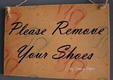Please Remove Your Shoes Flip Flops Background Welcome Shabby Rustic Door Sign