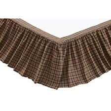 """VHC Rustic Bed Skirt Dust Ruffle King Queen Twin Brown Cotton Plaid 16"""" Drop"""