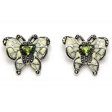 Marcasite .925 silver, peridot,  and white enamel butterfly stud earrings
