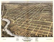 1869 Danville Vermillion Co panoramic Illinois map Genealogy atlas poster Il24