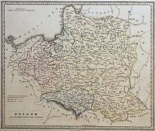 map of Poland and Lithuania with original coloring.1841 year,London.
