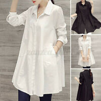 UK Women Oversize V Neck Long Sleeve Tops Blouse Casual Loose Shirt Dress Plus
