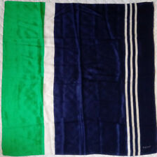 Vintage Echo Silk Scarf Wrap Polo Nautical Blue Green White Stripe 31 x 31