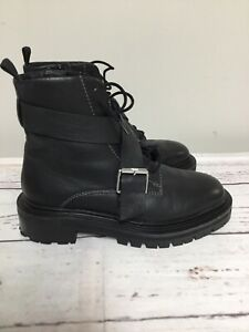 ASOS Black Ankle Boots 8.5 Chunky Heel Buckle Combat doc Platform Shoes