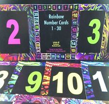 Rainbow Number Cards 1-30, Table Numbers, Decorative Original Designs