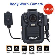 Police Body Worn Camera Security HD 1296P 64GB IR Night Vision + External Lens