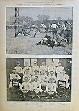 FOOTBALL, ENGLAND vs WALES, The Match At Blackheath, Vintage 1892 Antique Print