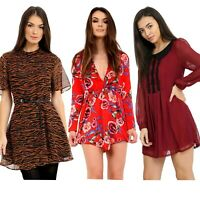 Women's Trendy Long Sleeve Round Collar Casual One-Piece Short Dress Summer Top