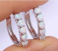 STUNNING White Fire Lab Opal With Colours Highlights Hoop Earrings Silver