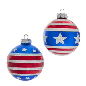 80MM Red, White and Blue Stars and Stripes Glass Ball Ornaments, 6-Piece Box  w