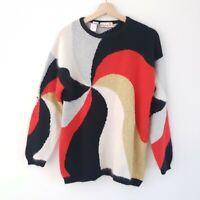 Rafaella Sz S Vintage Block Colour Metallic Angora Lambswool Knit Sweater Jumper