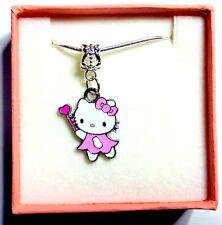 Hello Kitty Pink Children's Collier Cadeau Personnalisé Boite & Carte + Sac Cadeau