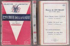 C1 Leo MALET Nestor Burma 120 RUE DE LA GARE 1945 2e edition RARE Bon Etat
