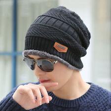 Mens Womens Winter Warm Fleece Knitted Crochet Slouch Ski Cap Beanie Stretch Hat