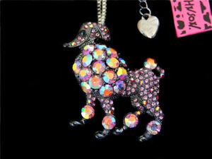 Betsey Johnson Fashion Glitter Mini Poodle Dog Pendant Necklace Gift