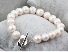 9-10MM white baroque freshwater cultured pearl bracelet 7.5""