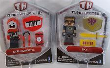 "Tube Heroes ExplodingTNT & Sky 3"" Figure LOT Factory Sealed Minecraft Brand New"