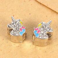 10Pcs Silver Crystal Unicorn Big Hole Spacer Charm Beads Fit European Bracelet