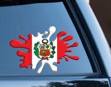 Perú Bandera Splat Gracioso Decal Sticker Coche, Furgoneta, Ordenador Portátil, puertas de la Copa del Mundo 2018