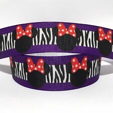 1 METRE PINK TIGER PRINT MINNIE MOUSE RIBBON SIZE 7//8 HEADBANDS HAIR BOWS CRAFTS