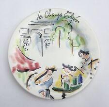 ASSIETTE à Dessert en Faïence GIEN Paris CHAMPS-ÉLYSÉES Caroline Saint Georges