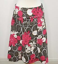 Lane Bryant Women's A-line Paneled Skirt - Brown/White/Pink -Floral - Size 20