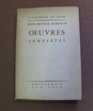 OEUVRES COMPLETES Arthur Rimbaud - French PB Brentano's - illuminations Saison