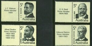 1969 Australian Descriptive Tabs 5c Stamp Set First Prime Minister Series issues