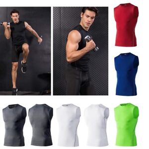 Men Sports Skin Compression Gym Wear Base Layers Tank Tight Vest Tee Shirts Tops