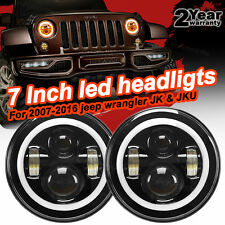 Firebug 7 Inch Round LED Headlights Halo Angle Eyes For Jeep Wrangler JK LJ TJ