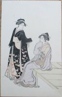 Geisha Girl 1910 Wood Cut Print, Hand-Colored Postcard- 2 Japan / Japanese Women