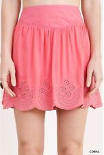 New Umgee Womens Skirt Size Large Coral Pink Prairie Mini Eyelit Boho Lined