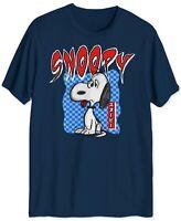 Peanuts Mens T-Shirts Blue Size XL Checkered Snoopy Kanji Graphic Crewneck 049