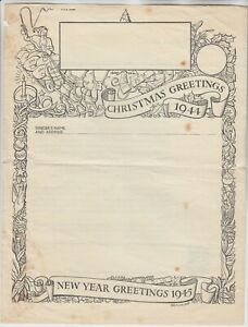 AIRGRAPH 1944 CHRISTMAS GREETING illust airgraph MINT with printed 3d postage